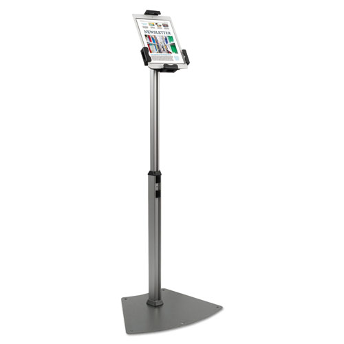 Tablet Kiosk Floor Stand for 7 to 10 Tablets, Silver