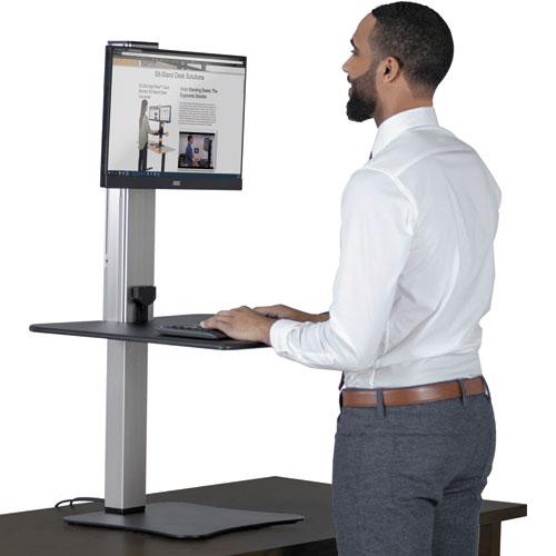 Victor® DC400 High Rise Electric Standing Desk Workstation, Black/Aluminum