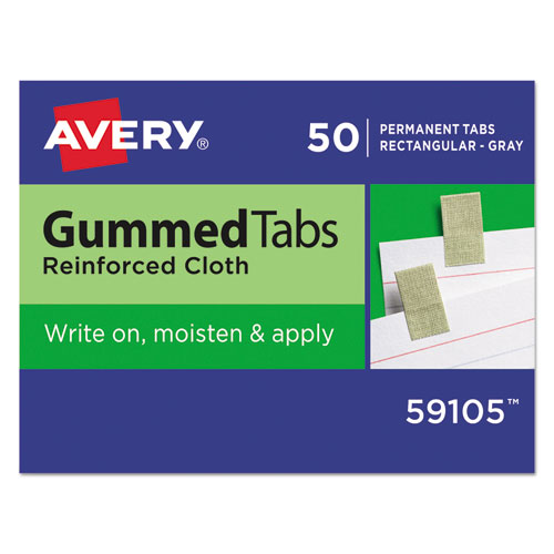 Gummed Reinforced Index Tabs, 1/12-Cut Tabs, Gray, 0.44 Wide, 50/Pack
