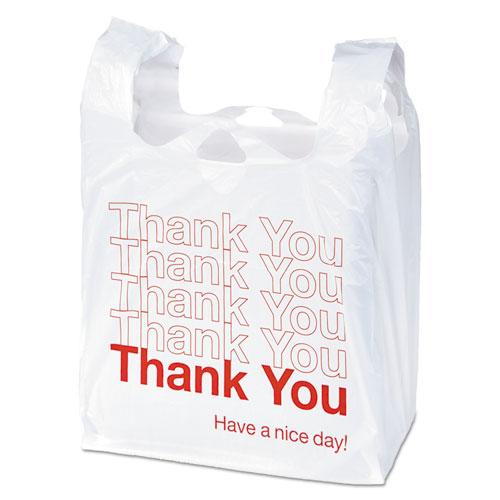 "Universal® Plastic ""Thank You"" Shopping Bag, 11.5 x 3.15 x 22, 0.55 mil, White/Red, 250/BX"