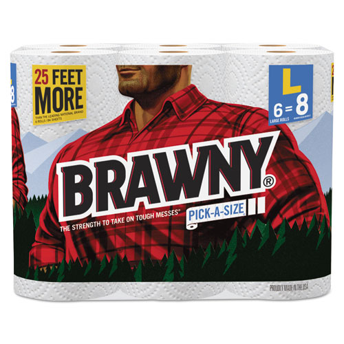 """Brawny® Pick-A-Size Perforated Roll Towel, 2-Ply, 11"""" x 47 ft, White, 564/Roll, 6/Pack"""