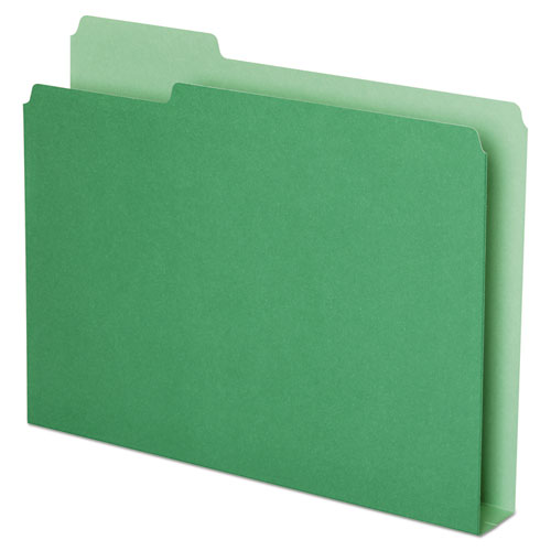 Double Stuff File Folders, 1/3-Cut Tabs, Letter Size, Green, 50/Pack