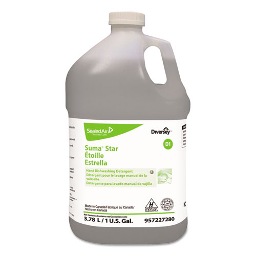 Diversey™ Suma Star D1 Hand Dishwashing Detergent, Unscented, 1 gal Bottle, 4/Carton