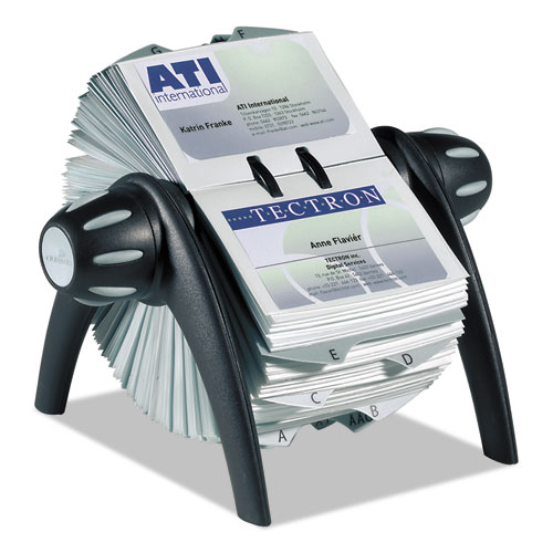 VISIFIX Flip Rotary Business Card File, Holds 400 4 1/8 x 2 7/8 Cards, Black/SR | by Plexsupply