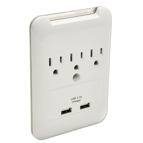 Wall Surge Protector, 3 Outlets/2 USB Charging Ports, 540 Joules, White