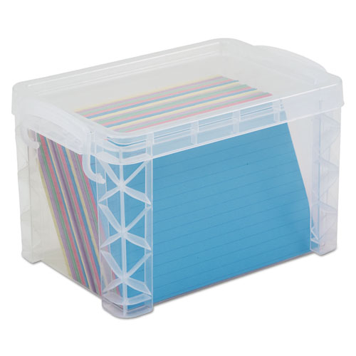 Super Stacker Storage Boxes, Holds 500 4 x 6 Cards, 7.25 x 5 x 4.75, Plastic, Clear
