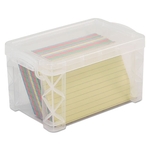 Super Stacker Storage Boxes, Hold 400 3 x 5 Cards, Plastic, Clear | by Plexsupply