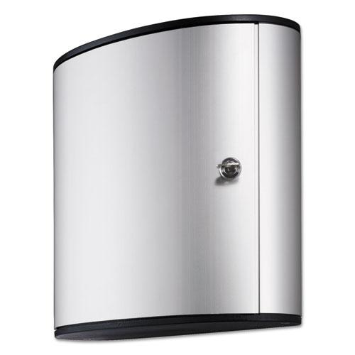 Locking Key Cabinet, 54-Key, Brushed Aluminum, Silver, 11 3/4 x 4 5/8 x 11