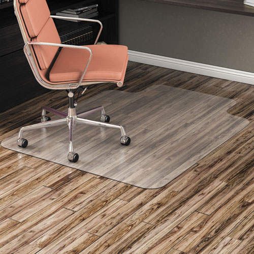 All Day Use Non-Studded Chair Mat for Hard Floors, 45 x 53, Wide Lipped, Clear