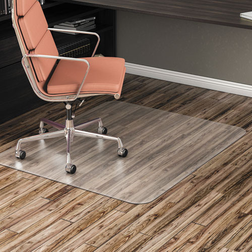 All Day Use Non-Studded Chair Mat for Hard Floors, 46 x 60, Rectangular, Clear
