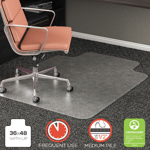 deflecto rollamat frequent use chair mat for high pile carpet lip