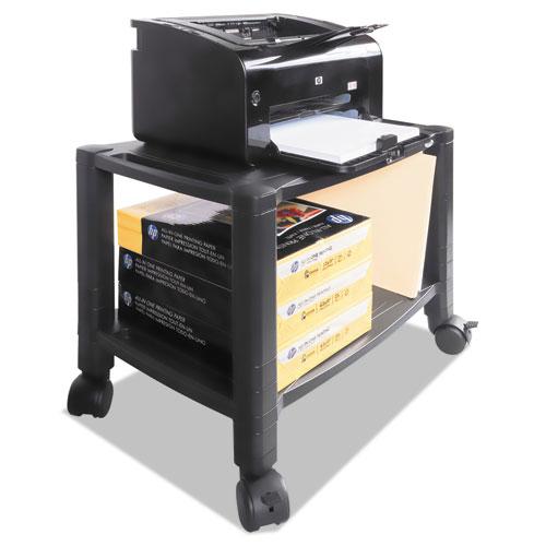 Mobile Printer Stand, Two-Shelf, 20w x 13.25d x 14.13h, Black