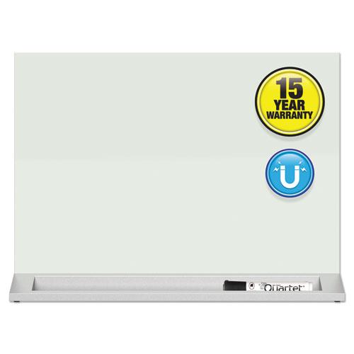 Desktop Magnetic Glass Dry-Erase Panel, 23 x 17, White