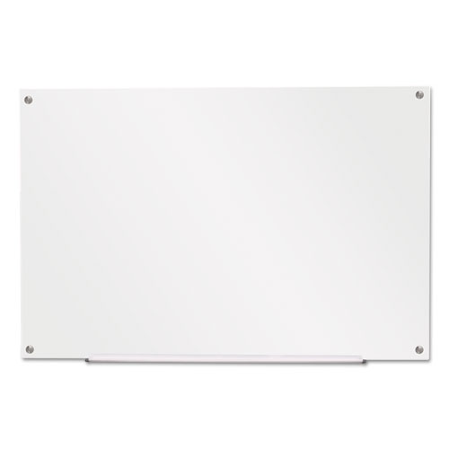 "Universal® Frameless Glass Marker Board, 36"" x 24"", White"