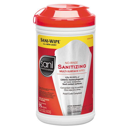 Sani Professional® Table Turners No-Rinse Sanitizing Wipes, White, 95/Container, 6/Carton