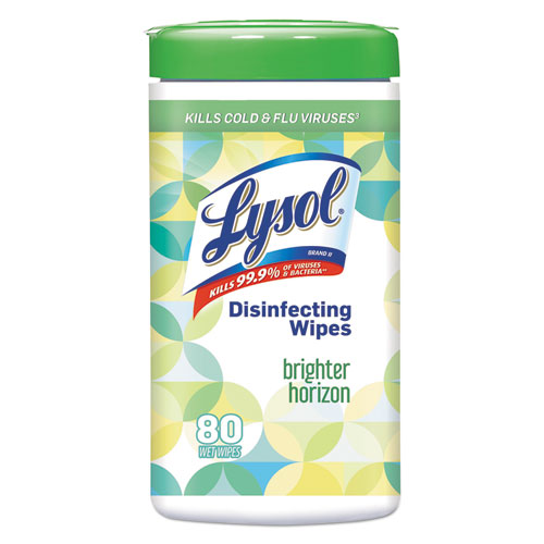 """LYSOL® Brand Disinfecting Wipes, Brighter Horizon, 7"""" x 8"""", White, 80/Canister, 6/Carton"""