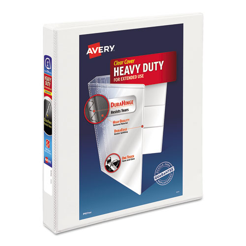 "Heavy-Duty View Binder with DuraHinge and Locking One Touch EZD Rings, 3 Rings, 1"" Capacity, 11 x 8.5, White 