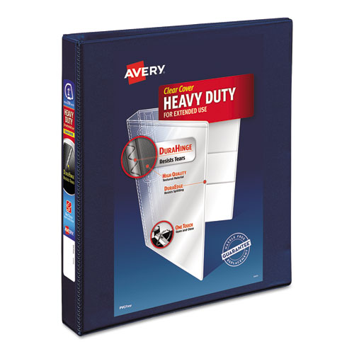 "Heavy-Duty View Binder with DuraHinge and Locking One Touch EZD Rings, 3 Rings, 1"" Capacity, 11 x 8.5, Navy Blue 
