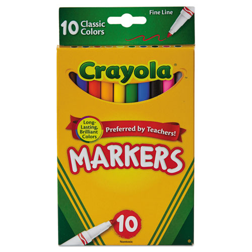crayola non washable markers fine point classic colors 10 set