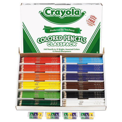 Color Pencil Classpack Set, 3.3 mm, 2B (#1), Assorted Lead/Barrel Colors, 252/Box | by Plexsupply