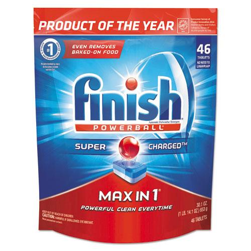FINISH® Powerball Max in 1 Dishwasher Tabs, Fresh, 63/Pack, 3/Carton