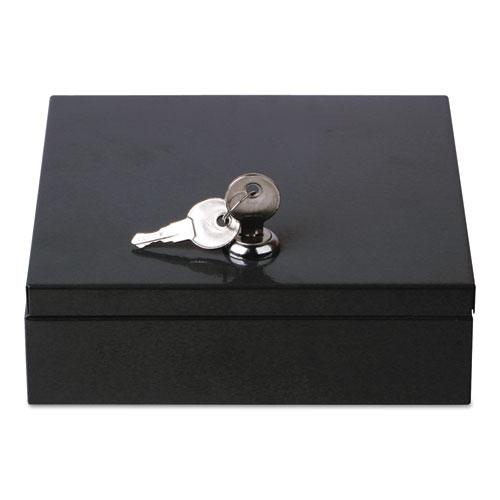 "Space-Saving Steel Security Box, 6 3/4"" x 6 7/8"" x 2"", Black"