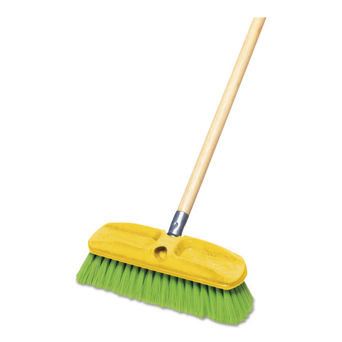 "Synthetic-Fill Wash Brush, 10"" Yellow Plastic Block 