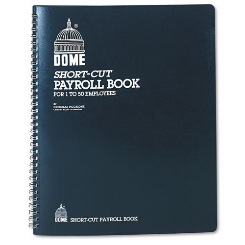 Payroll Record, Single Entry System, Blue Vinyl Cover, 8 3/4 x11 1/4 Pages | by Plexsupply