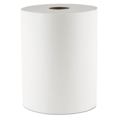 """Morcon Paper Hardwound Roll Towels, 1-Ply, 10"""" x 550 ft, White, 6 Rolls/Carton"""