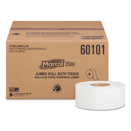 Marcal PRO™ 100% Recycled Bathroom Tissue, Septic Safe, 2-Ply, White, 3.3 x 1000 ft, 12 Rolls/Carton