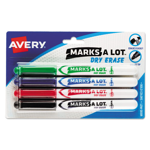 MARKS A LOT Pen-Style Dry Erase Marker, Medium Bullet Tip, Assorted Colors, 4/Set | by Plexsupply