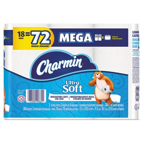 Charmin® Ultra Soft Bathroom Tissue, 2-Ply, 4 x 3.92, 284 Sheets/Roll, 18 Rolls/Pack