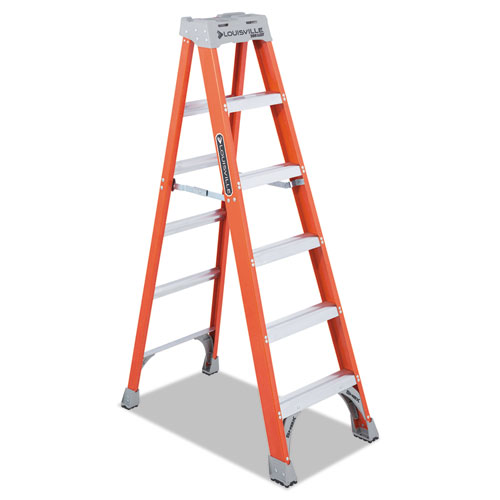 "Louisville® Fiberglass Heavy Duty Step Ladder, 28 3/8"", 2-Step, Orange"