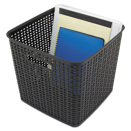 Plastic Weave Bin, Extra Large, 12.5 x 11.13, Black, 2/Pack