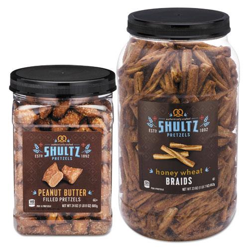 Shultz Pretzels, Peanut Butter, Tub, 24 oz