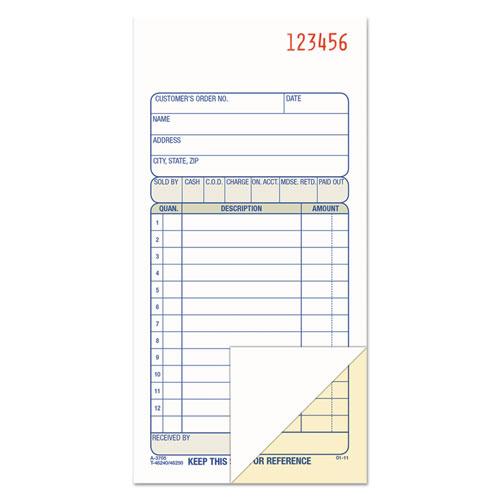 2-Part Sales Book, 3 3/8 x 6 11/16, Carbonless, 50 Sets/Book