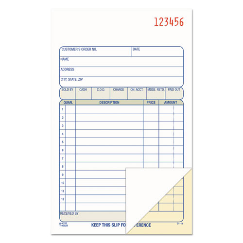 2-Part Sales Book, 6 11/16 x 4 3/16, Carbonless, 50 sets/Book | by Plexsupply