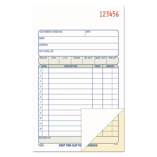 2-Part Sales Book, 6 11/16 x 4 3/16, Carbonless, 50 sets/Book