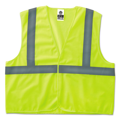 GloWear 8205HL Type R Class 2 Super Econo Mesh Safety Vest, Lime, Small/Medium | by Plexsupply