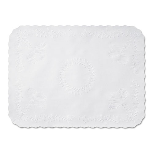 Anniversary Embossed Scalloped Edge Tray Mat, 14 x 19, White, 1,000/Carton | by Plexsupply