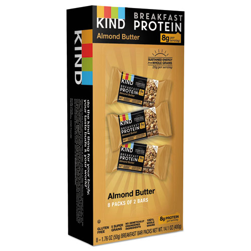 Breakfast Protein Bars, Almond Butter, 50 g Box, 8/Pack