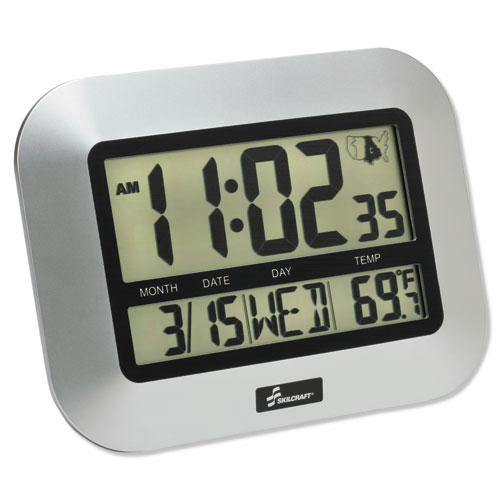 6645016611877 SKILCRAFT LCD Digital Radio-Controlled Clock, 7.25 x 9.75, Sliver Case, 2 AAA (sold separately)