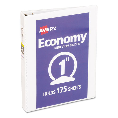 """Economy View Binder with Round Rings , 3 Rings, 1"""" Capacity, 8.5 x 5.5, White 