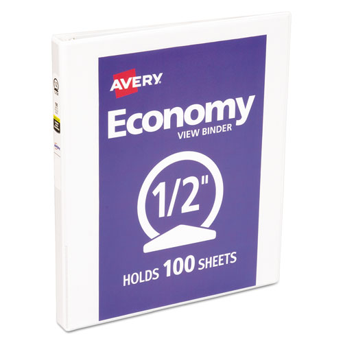 "Economy View Binder with Round Rings , 3 Rings, 0.5"" Capacity, 11 x 8.5, White 
