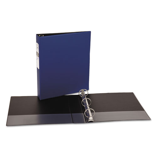 Economy Non-View Binder with Round Rings, 3 Rings, 1.5 Capacity, 11 x 8.5, Blue