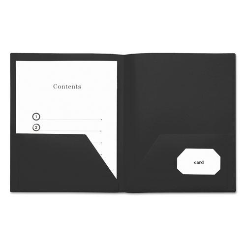 Two-Pocket Plastic Folders, 11 x 8 1/2, Black, 10/Pack