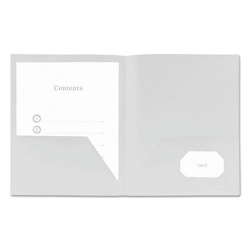 Two-Pocket Plastic Folders, 11 x 8 1/2, White, 10/Pack