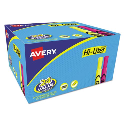 HI-LITER Desk-Style Highlighter Value Pack, Assorted Ink Colors, Chisel Tip, Assorted Barrel Colors, 24/Pack