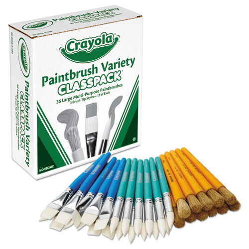 Crayola® Large Variety Paint Brush Classpack, Natural Bristle/Nylon, Flat/Round, 36/Set