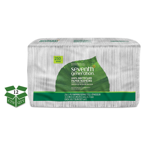 100% Recycled Napkins, 1-Ply, 11 1/2 x 12 1/2, White, 250/Pack, 12 Packs/Carton | by Plexsupply